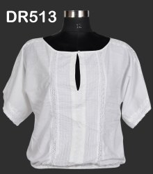 White Cotton Hand Embroidered Chikan Women's Short Top DR513
