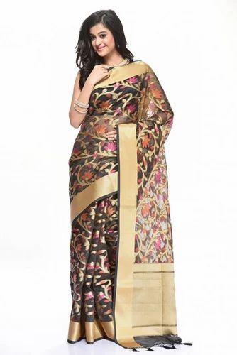 4e73193c5c Black WHS03211 Kora Thread Saree, Rs 2100 /piece, Rangoli India | ID ...