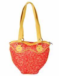 Genera Red Self Weaved Cotton Jacquard Bag
