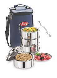 Silver Esteelo Bonanza 4 Stainless Steel Insulated Tiffin, Packaging Type: Cartons