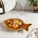 Ceramic Brown Fish Platter