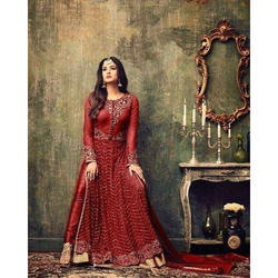 A-Line Red Salwar Suit, Size: S, M and L