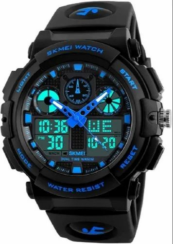 PU Skmei 1270 Blue Chronograph Analog-Digital Watch  For Men