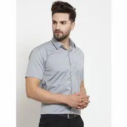 Poly Cotton Plain Men's Grey Half Sleeves Shirt 0, Machine wash, Size: 36-44 (xs - Xxl)