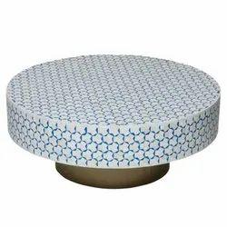 Garud India Round Bone Inlay Coffee Table