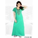 Full Length Embroidery Green Hosiery Nighty, Size: Large