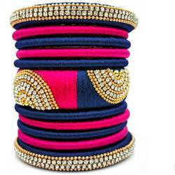 Blue And Pink Silk Thread Bangle Set
