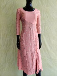 Pink 3/4th Sleeve Rayon Printed Anarkali Kurti