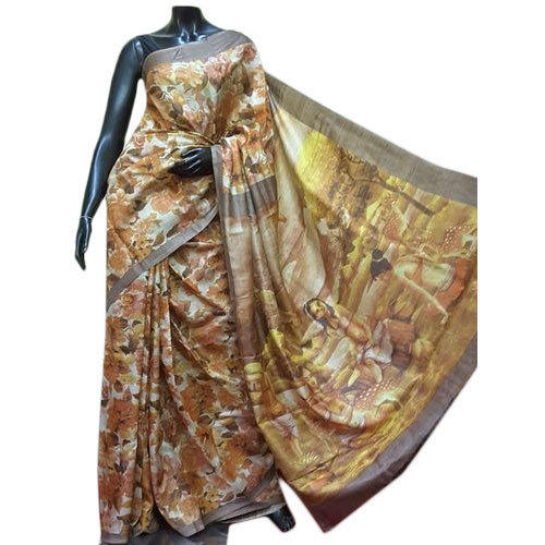 05447046ce Party Wear Designer Tussar Silk Digital Printed Saree, With Blouse Piece,  6.5 M