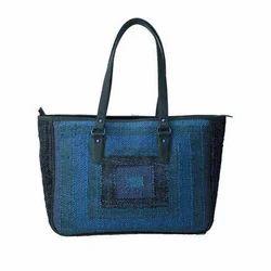 Canvas Blue Ladies Handbag