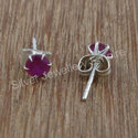 Ruby Gemstone Fashion Jewelry 925 Silver Stud Earring