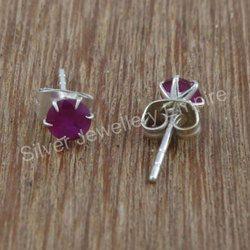 Ruby Gemstone Fashion Jewelry 925 Silver Stud Earring