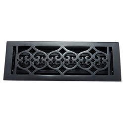 Flower Iron Wall Register with Louver - 4inch x 14inch (5-1/2inch x 15-5/8inch Overall)