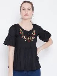 Ladies Black Embroidered Top