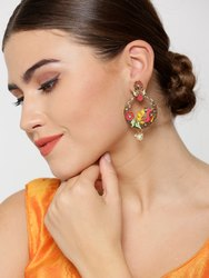 Gold-Plated Peacock And Flower Inspired Multicolor Drop Earrings