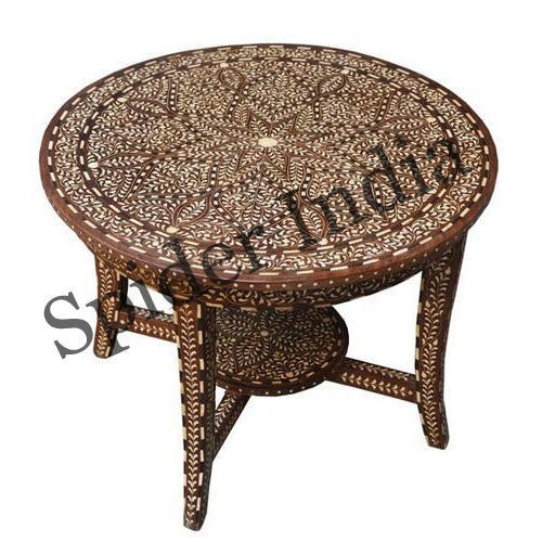 Antique Round Wooden Coffee Tables: Vintage Rose Wood Bone Inlay Round Coffee Table, Rs 28950