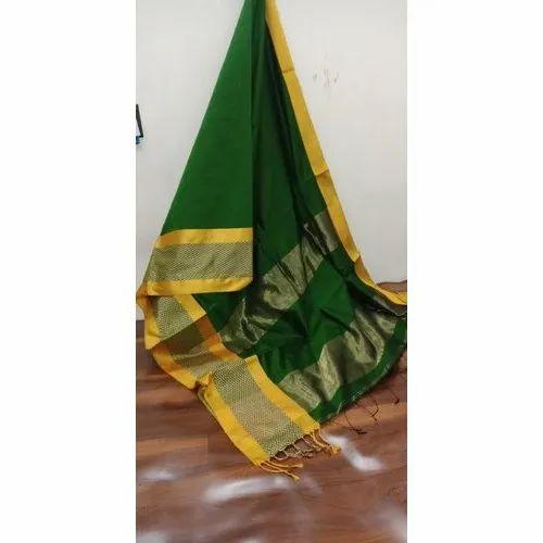 Green Party Wear Women Silk Saree, Packaging Type: Plastic