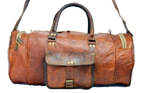 b6b3dad32c Vintage Brown Zipper Leather Duffle Bag