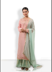 Sharara Suit In Peach And Sea Green Contrast