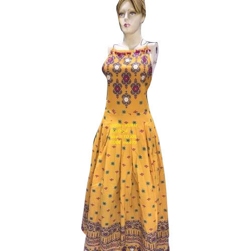 Yellow Printed Sleeveless Gown