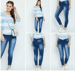 Mm-21 Skinny Ladies Navy Blue Denim Jeans