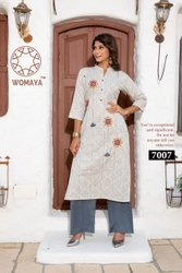 Stitched Straight Womaya Cotton Linen Printed and Embroidered Kurti with Palazzo
