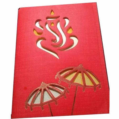 Red Paper Designer Hindu Wedding Invitation Card Rs 8 00 Piece Id 19844416533