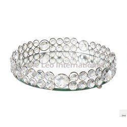 Crystal Bead And Mirror Serving Tray For Gift