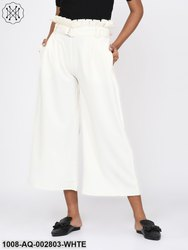 White Pleated Waist Trousers for Women