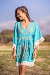 Women Summer Tunic V Neck Casual Loose Dresses