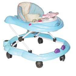 Abs Plastic And Mild Steel Blue Baby Walker, 5 Wheel, 11811