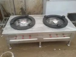 Silver Commercial Two Burner Gas Stove