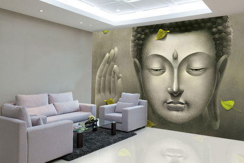 Multi Color Vinyl, Non Woven Buddha Wallpaper Design For Home