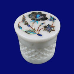 White Marble Stone Inlay Round Box