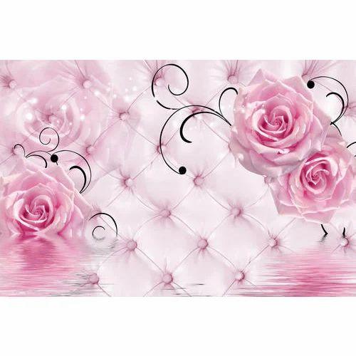 Customized Pink Rose Waterproof Wallpaper At Rs 40 Square Feet Waterproof Wallpaper Id 20144149248