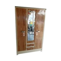 Gujju Bazar Brown Mirror Steel Almirah, for Home