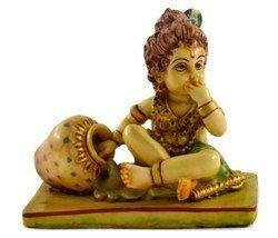 Handmade Resin Idol Of Baby Krishna Hand Painted