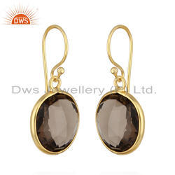 Smoky Quartz Round Shape Gold Plated 925 Silver Earrings