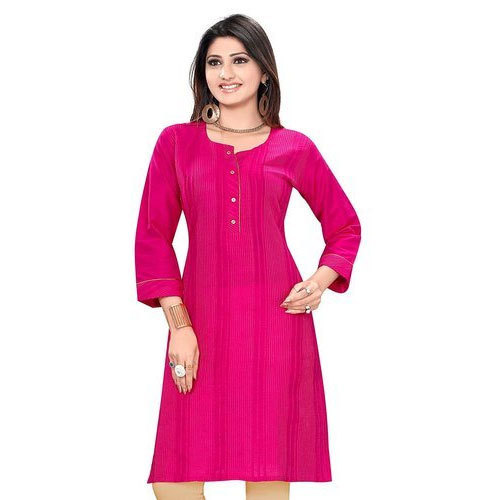 fc4cd9f843 Pink Cotton Round Neck Stretchable Kurti, Size: M & L, Rs 449 /piece ...