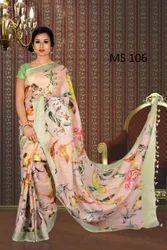 Bhagalpuri Digital Print Linen Saree