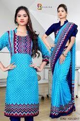 Blue and Orange Silk Georgette Uniform Saree Kurti Combo