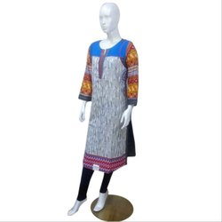 Printed Full Sleeves Cotton Kurti, Size: L