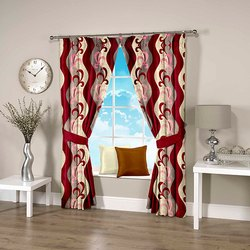 Digital Printed Ravi Exports Abstract Fancy Wavy Red Curtain