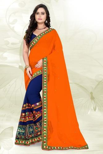 3708ae960a706 Georgette Orange And Navy Blue Color Embroidered Designer Saree