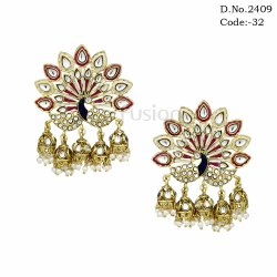 Designer Meenakari Peacock Stud Earrings