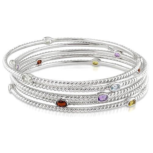 silver jewellery bangle pair bangles mukthaa product red with spinel topshot