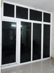 UPVC, Glass White UPVC Sliding Door With Security Glass