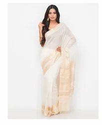 Cotton Silk Stitched Barik Phool Saree