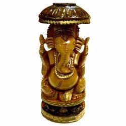 Wooden Chatari Ganesha Statue