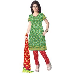 Green and Red Color Fancy Design Gadhwal Bandhani Dress Material